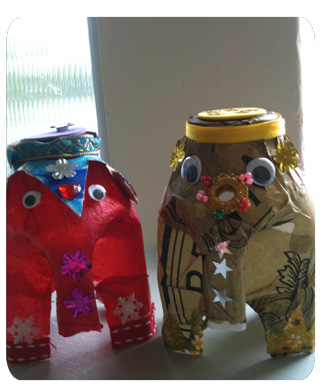 How to make milk bottle elephants baby genie for Bottle arts and crafts